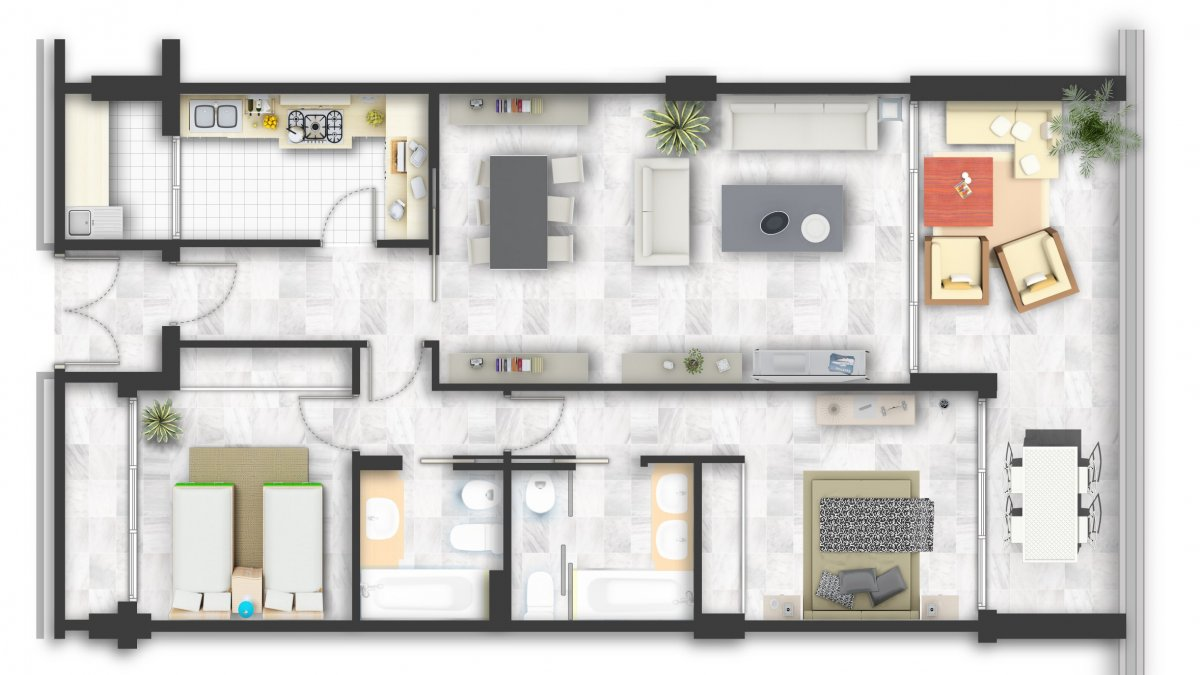 Mariola Marbella, Apartamento 2 dormitorios en fachada Este.